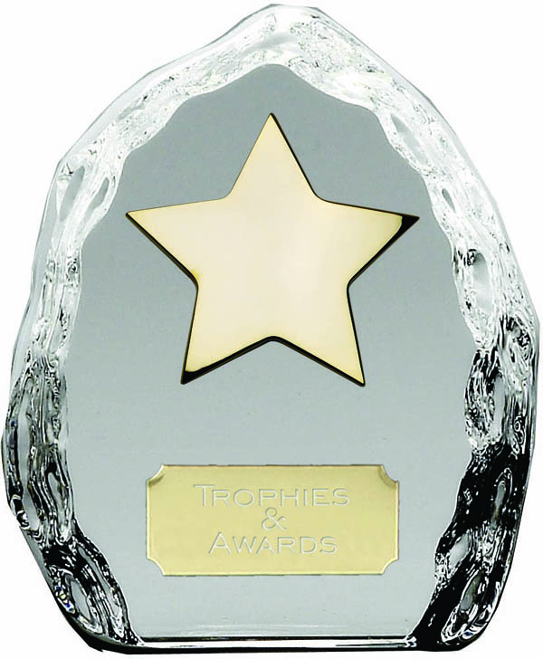 "Iceberg Glass Award with High Polished Metal Gold Star 11.5cm (4.5"")"