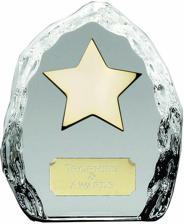 "Iceberg Glass Award with High Polished Metal Gold Star 11.5cm (4.5"")"