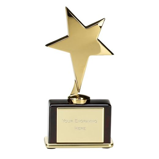 "Shining Gold Star on Rosewood Base 16.5cm (6.5"")"
