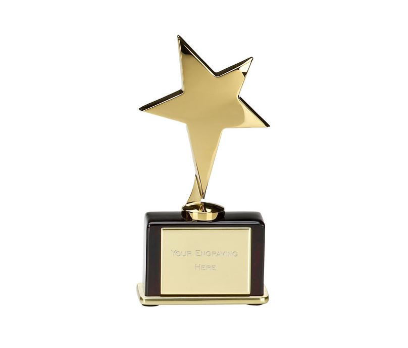 "Shining Gold Star on Rosewood Base 16.5cm (6.5"")"