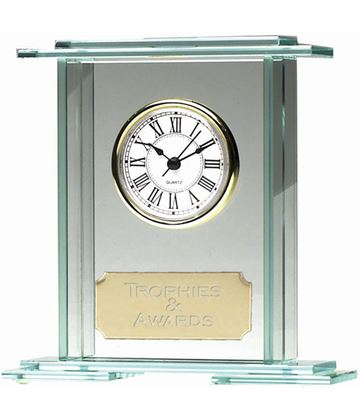 "Eternity Jade Glass Clock Award 16cm (6.25"")"