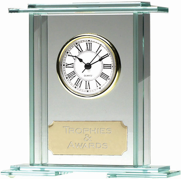 "Eternity Jade Glass Clock Award 14.5cm (5.75"")"
