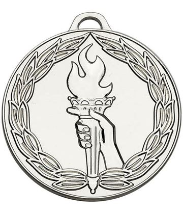 "Silver Classic Torch Medal 50mm (2"")"