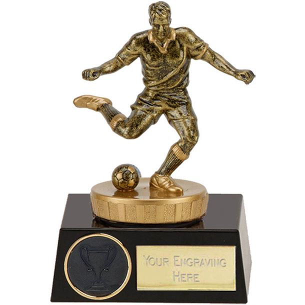 "Gold Action Football Player On Black Base 11cm (4.25"")"