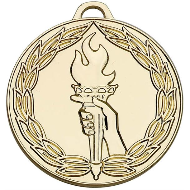 """Gold Classic Torch Medal 50mm (2"""")"""