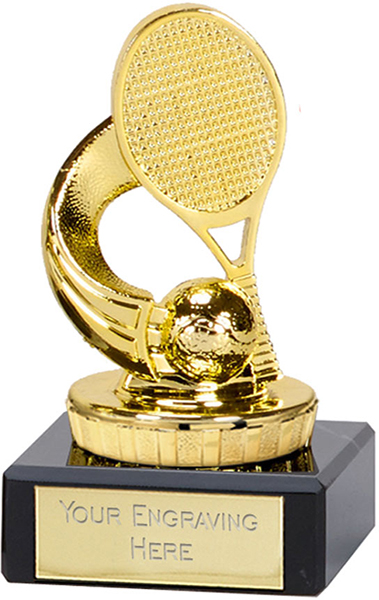 "Gold Plastic Tennis Trophy on Marble Base 9.5cm (3.75"")"