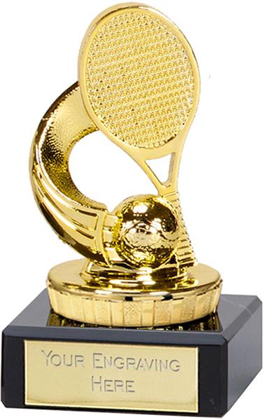 "Gold Plastic Tennis Trophy on Marble Base 9.5cm (3.75"")"