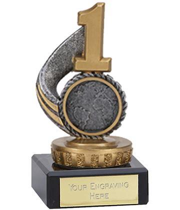 "Antique Silver Number 1 Trophy on Marble Base 9.5cm (3.75"")"