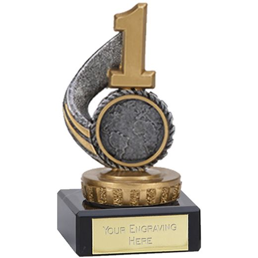 "Antique Silver Number 1 Trophy on Marble Base 10cm (4"")"