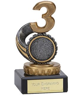 "Silver & Gold Plastic Number 3 Trophy on Marble Base 9.5cm (3.75"")"