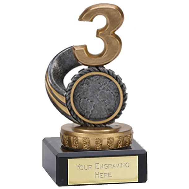 "Silver & Gold Plastic Number 3 Trophy on Marble Base 10cm (4"")"