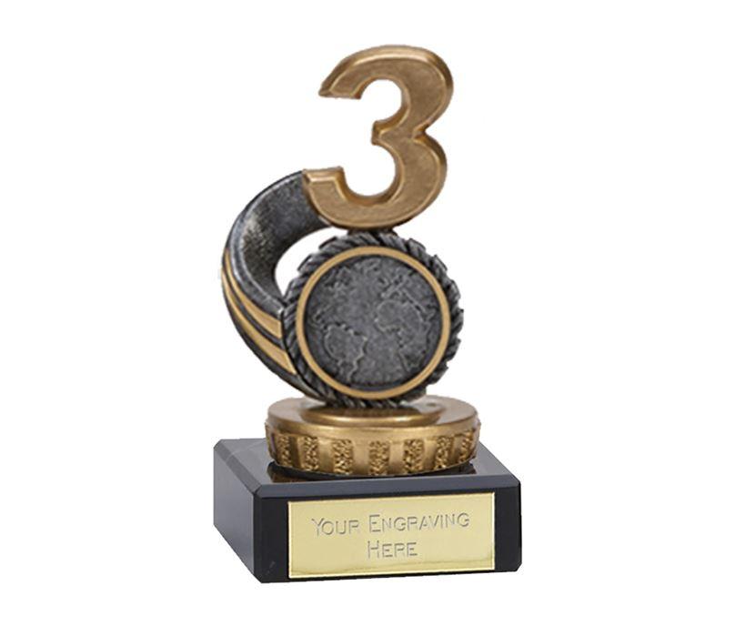 "Silver & Gold Plastic Number 3 Trophy on Marble Base 9.5cm (3.75"")"