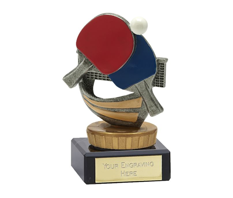 """Antique Silver & Gold Table Tennis Trophy on Marble Base 9.5cm (3.75"""")"""