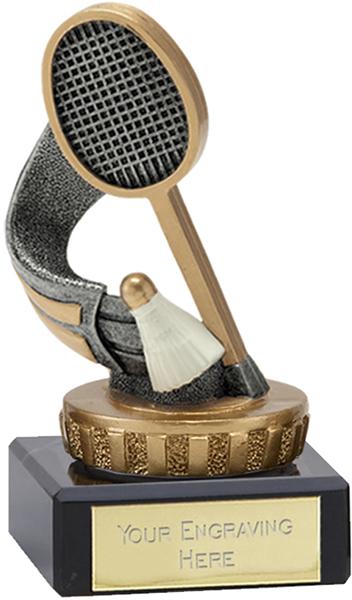"Antique Silver & Gold Badminton Trophy on Marble Base 9.5cm (3.75"")"