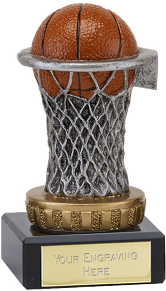 "Plastic Basketball & Net Trophy on Marble Base 9.5cm (3.75"")"