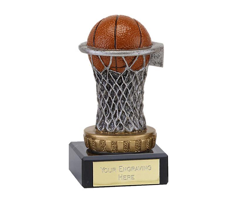 "Plastic Basketball & Net Trophy on Marble Base 9.5cm (3.75"")"