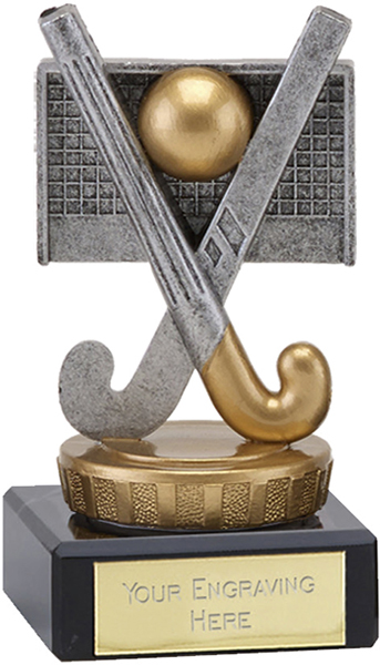 """Antique Silver Crossed Hockey Sticks Trophy on Marble Base 9.5cm (3.75"""")"""