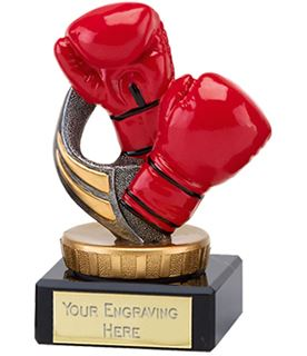 "Red Boxing Gloves Trophy on Marble Base 9.5cm (3.75"")"