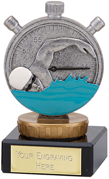 "Silver Swimming Clock & Swimmer Trophy on Marble Base 9.5cm (3.75"")"