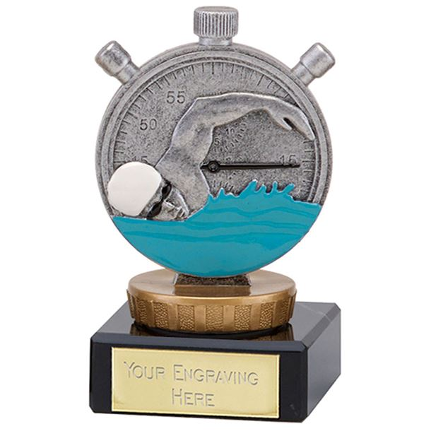 """Silver Swimming Clock & Swimmer Trophy on Marble Base 9.5cm (3.75"""")"""