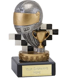 """Silver & Gold Plastic Motorsport Trophy on Marble Base 9.5cm (3.75"""")"""