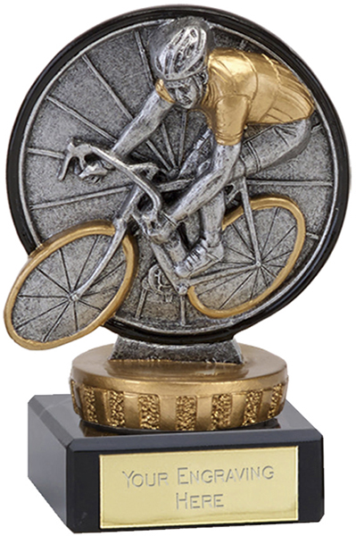 "Antique Silver Classic Cycling Trophy on Marble Base 9.5cm (3.75"")"