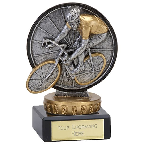"""Antique Silver Classic Cycling Trophy on Marble Base 10cm (4"""")"""