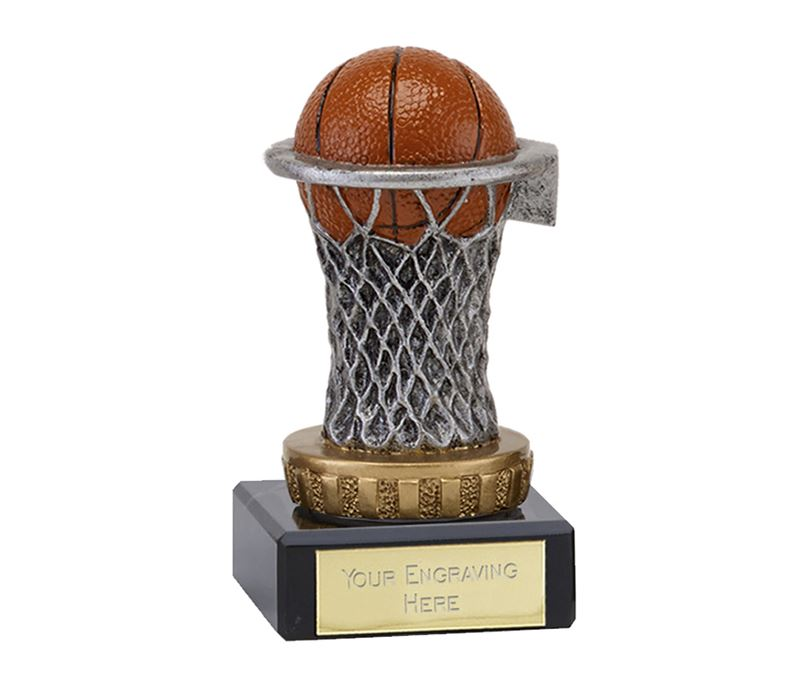 "Antique Silver & Gold Netball Trophy on Marble Base 9.5cm (3.75"")"
