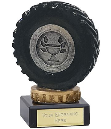 """Black Tractor Tyre Trophy on Marble Base 9.5cm (3.75"""")"""