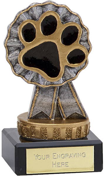 "Pet Paw & Ribbon Trophy on Marble Base 9.5cm (3.75"")"