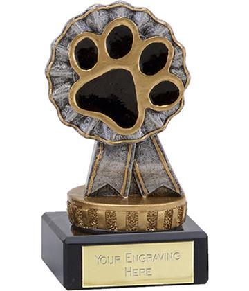 "Pet Paw & Ribbon Trophy on Marble Base 9.5cm (3.75"")"