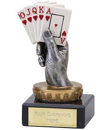 """Royal Flush Playing Cards Trophy on Marble Base 10cm (4"""")"""