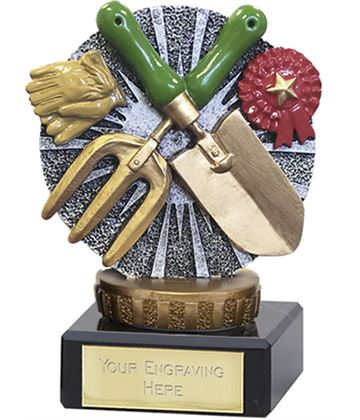 "Gardening Trophy Flexx On Marble Base 10cm (4"")"