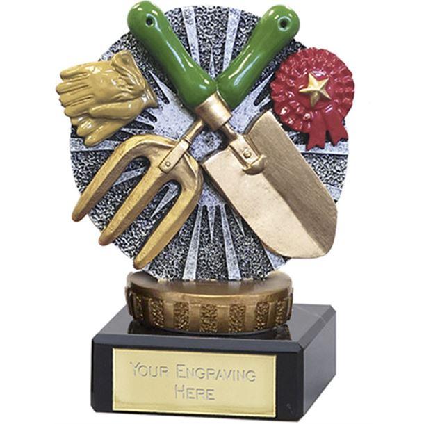 "Gardening Trophy Flexx On Marble Base 9.5cm (3.75"")"