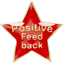 Positive Feedback Lapel Badge Red 20mm