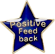 Positive Feedback Lapel Badge Blue 20mm