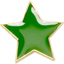 Green Star Shaped Lapel Badge 20mm