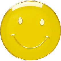 Yellow Smiley Face Lapel Badge 20mm