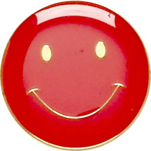 Red Smiley Face Lapel Badge 20mm