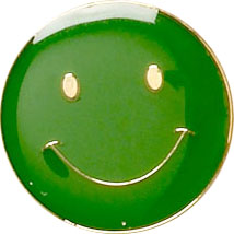 Green Smiley Face Lapel Badge 20mm