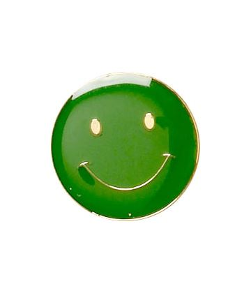 Green Happy Face Lapel Badge 20mm
