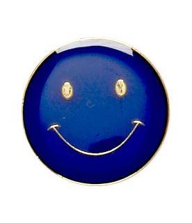 Blue Happy Face Lapel Badge 20mm