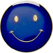 Blue Happy Face Lapel Badge 20mm