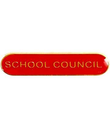 School Council Lapel Bar Badge Red 40mm x 8mm