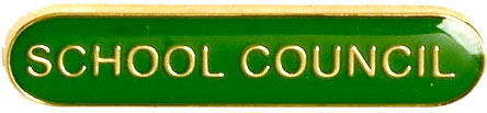 School Council Lapel Bar Badge Green 40mm x 8mm