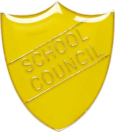 School Council Shield Badge Yellow 22mm x 25mm