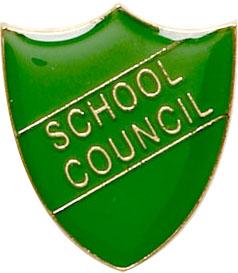 School Council Shield Badge Green 22mm x 25mm