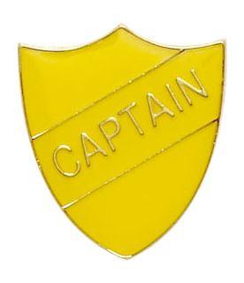 Captain Shield Badge Yellow 22mm x 25mm