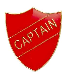 Captain Shield Badge Red 22mm x 25mm