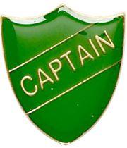 Captain Shield Badge Green 22mm x 25mm
